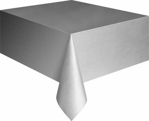 Silver Rectangle Plastic Table Cloth Tablecloth 9 x 4.5 ft (2.74m x 1.37m) Cover